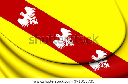 3D Flag of Lorraine, France. Close Up.    - stock photo