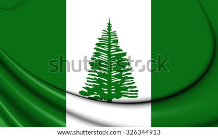 3D Flag of Norfolk Island. Close Up. - stock photo