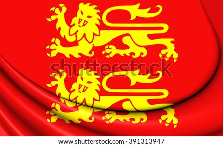 3D Flag of Normandy, France. Close Up. - stock photo