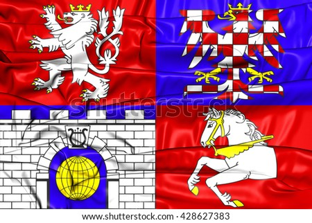 3D Flag of Pardubice Region, Czech Republic.      - stock photo