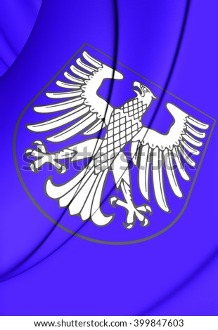 3D Flag of Schweinfurt (Bavaria), Germany. Close Up.    - stock photo