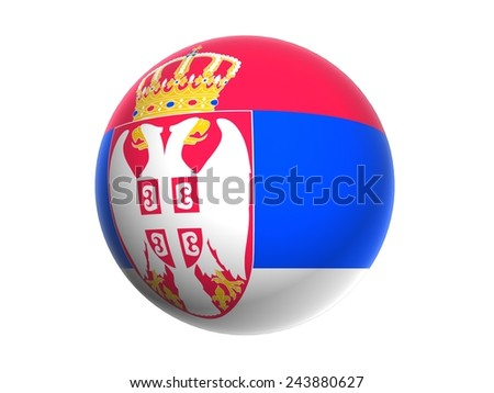 3D flag of Serbia orb, ball, circle, icon, sphere  isolated on white background - stock photo