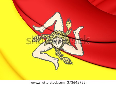 3D Flag of Sicily, Italy. Close Up.    - stock photo
