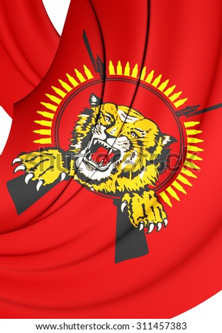 3D Flag of Tamil Eelam. Close Up.   - stock photo