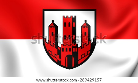 3D Flag of the Dinslaken, Germany. Close Up.    - stock photo
