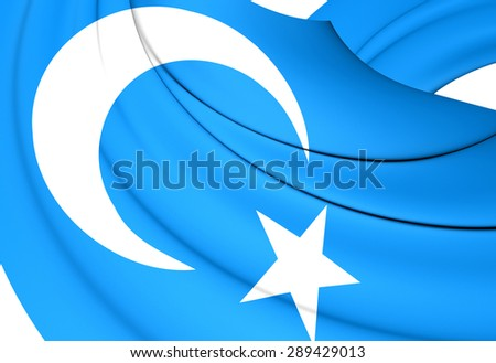 3D Flag of the East Turkestan. Close Up.    - stock photo