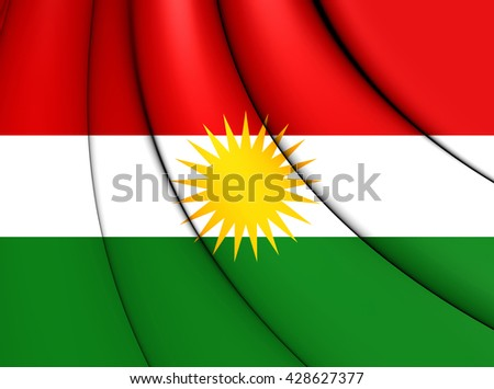 3D Flag of the Kurdistan. Close Up. - stock photo