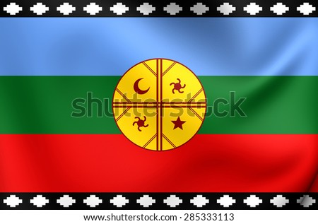 3D Flag of the Mapuche. Close Up.   - stock photo