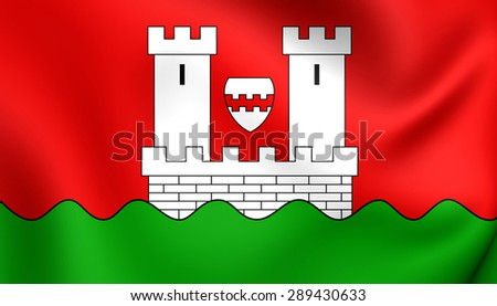 3D Flag of the Niederkassel, Germany. Close Up.    - stock photo