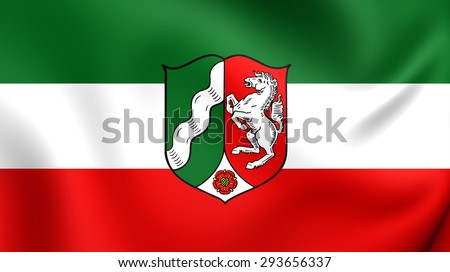 3D Flag of the North Rhine-Westphalia, Germany. Close Up. - stock photo