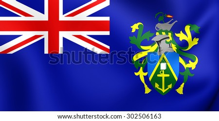 3D Flag of the Pitcairn Islands. Close Up. - stock photo