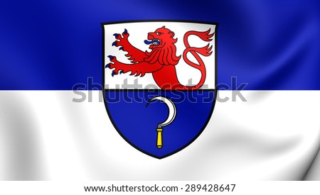 3D Flag of the Remscheid, Germany. Close Up.    - stock photo