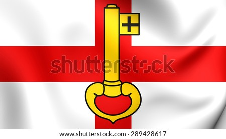 3D Flag of the Rheinberg, Germany. Close Up.    - stock photo