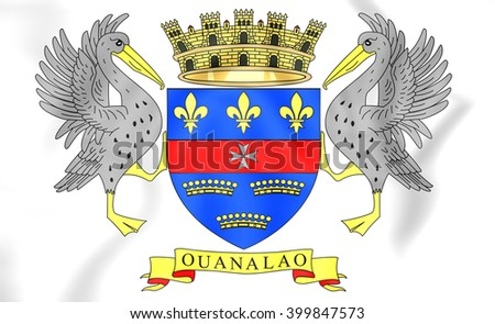 3D Flag of the Saint-Barthelemy. Close Up. - stock photo
