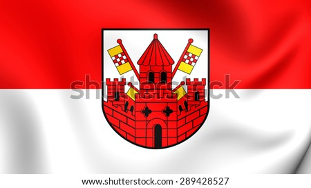 3D Flag of the Unna, Germany. Close Up.    - stock photo
