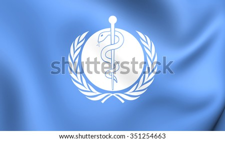 3D Flag of the World Health Organization. Close Up.    - stock photo