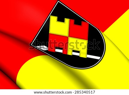 3D Flag of the Wurzburg, Germany. Close Up. - stock photo