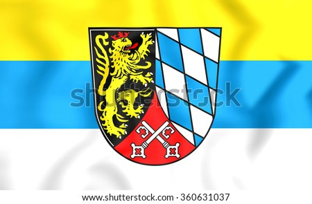 3D Flag of Upper Palatinate Region, Germany.   - stock photo