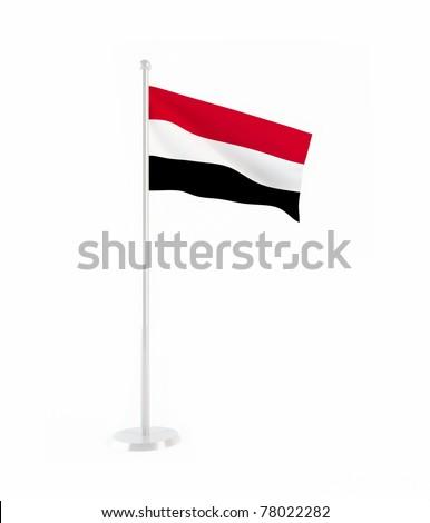 3D flag of Yemen - stock photo
