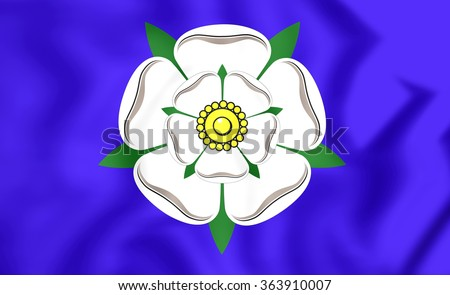 3D Flag of Yorkshire, England. Close Up.    - stock photo
