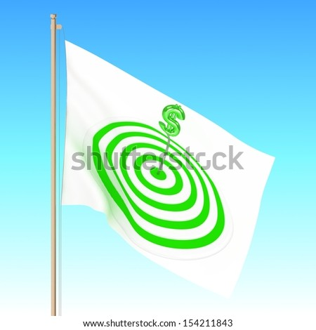 3d Flag with target with dollar sign. - stock photo
