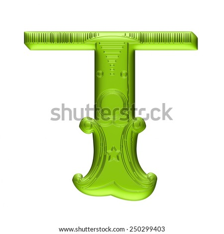 3D Floral alphabet T in green color on isolated white background. - stock photo