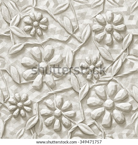 3d, floral background, triangles, seamless - stock photo