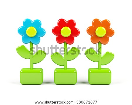 3d flowers isolated on white - stock photo