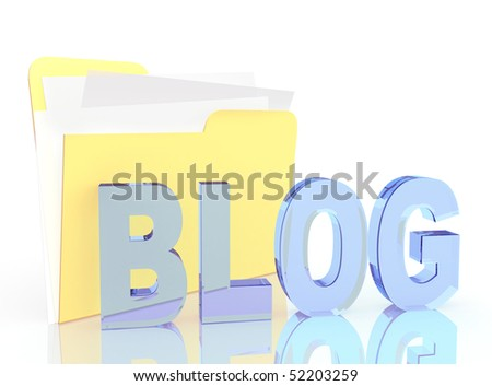 3d folder and blog. Objects over white - stock photo