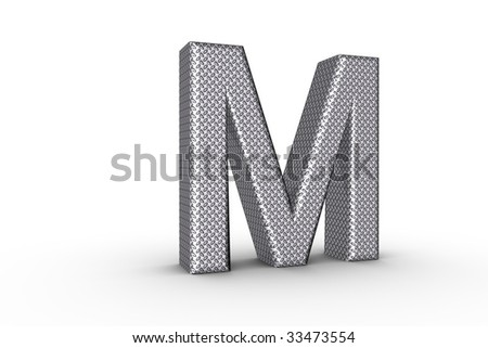 3D Font Alphabet Letter M in diamond metal tread plate texture on white Back Drop. - stock photo