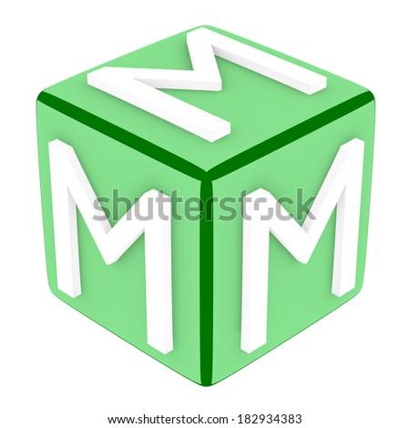 3d Font Cube Letter M - stock photo