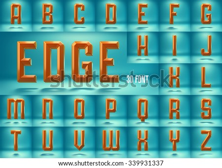3d font rendered with studio lighting and shadows. Volume font. Edge render typeface. render alphabet. Color font design. Beveled font. Extruded font. Glossy font. Shiny letters font. - stock photo