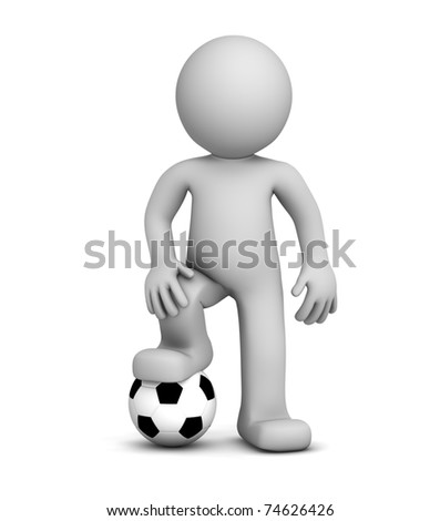 3d football player. Isolated - stock photo