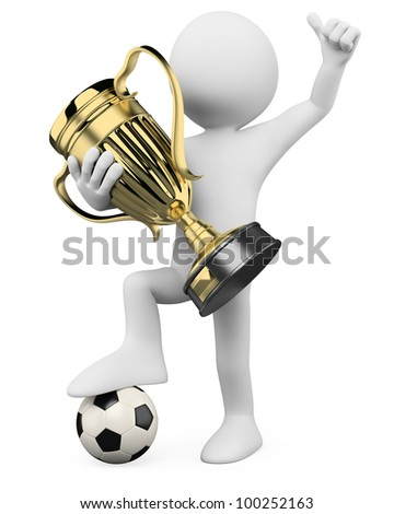 3D Football player - World champion. Rendered at high resolution on a white background with diffuse shadows. - stock photo