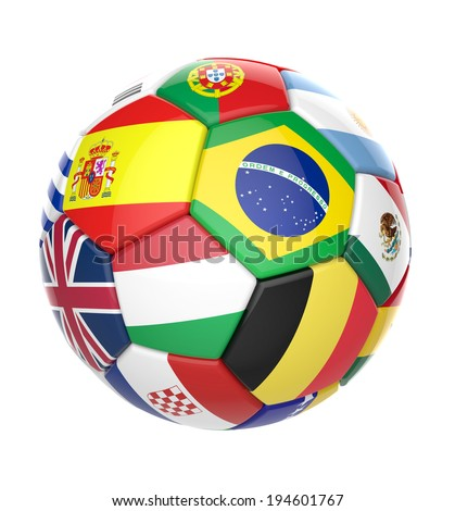 3D football soccer ball with nations teams flags - stock photo