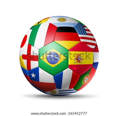 3D football soccer ball with nations teams flags. Isolated on white with clipping path - stock photo