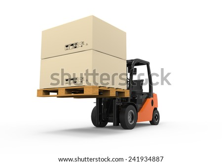 3D Forklift truck with boxes on pallet - stock photo