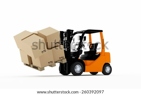 3D Forklift truck with cardboard boxes falling - stock photo