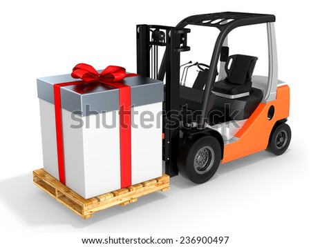 3d forklift with huge gift box on white background - stock photo