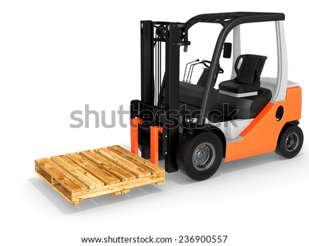 3d forklift with pallet on white background - stock photo