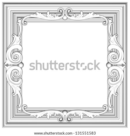 3d frame, the sculptural form on a white background - stock photo