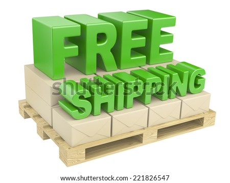 3D free shipping text and cardboard boxes on pallet. image isolated on a white background - stock photo