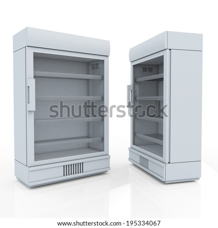 3D fridge for drink products or beverage in isolated background with work paths, clipping paths included - stock photo