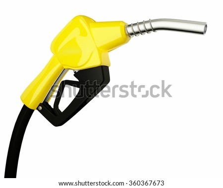 3d Fuel nozzle with hose isolated on white background - stock photo