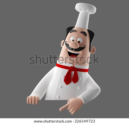 3D funny cartoon character, merry cook icon, isolated no background, gourmet chef man  with mustache, cooking figure - stock photo