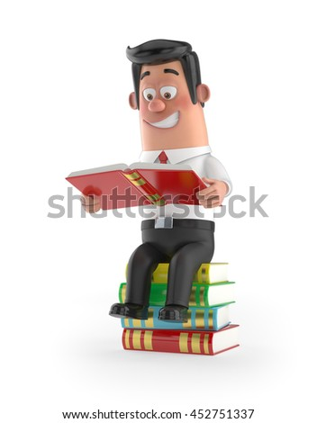 3D funny cartoon manager - sitting on the books - stock photo