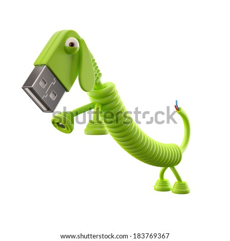 3d funny icon, usb connector dog, technology humorous animal, USB connection character with brown cable, isolated on the white background - stock photo