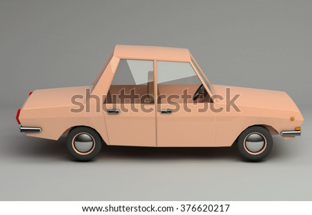 3d funny retro styled orange car. Glossy bright  vehicle on grey background with realistic shadows. Side view - stock photo