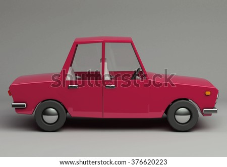 3d funny retro styled red car. Glossy bright  vehicle on grey background with realistic shadows. Side view - stock photo