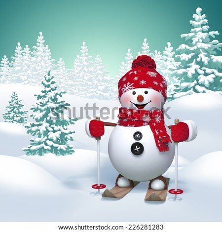 3d funny snowman skiing, winter nature background - stock photo